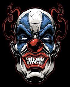 'Halloween Killer Clown' Metal Print by Matrixspeed Gruseliger Clown, Clown Horror, Clown Faces, Creepy Clown, Arte Horror, Horror Art, Cartoon Kunst, Cartoon Art, Evil Clown Tattoos