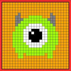 Mike tsum tsum perler bead hama bead crochet graphghan pattern Geek Cross Stitch, Cross Stitch Boards, Simple Cross Stitch, Cross Stitch Patterns, Perler Bead Templates, Pearler Bead Patterns, Perler Patterns, Pixel Art, Perler Beads