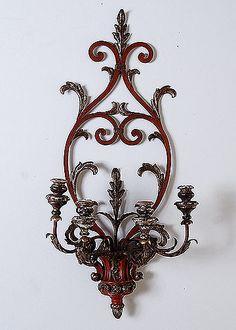 Italian Vintage Iron and Wood 4-light Sconce