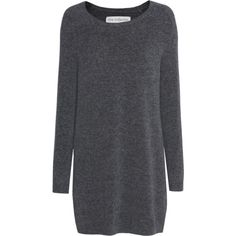 FINE COLLECTION Merino Blend Long Anthracite // Merino wool blend knit... ($480) ❤ liked on Polyvore featuring dresses, long sleeve dresses, knit sweater dress, round neck dress, knit mini dress and knit dress