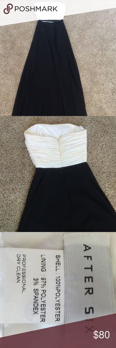 Black and white formal dress Worn once and is very comfortable. Has the option of straps. I'm 5'7'' and it is floor length without heels. After six Dresses Prom