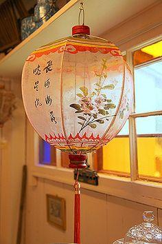 Asian outdoor silk lanterns