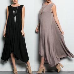 JILL LONG DRESS W/ POCKET - MOCHA/BLUE/BLACK LONG DRESS WITH POCKETS - Powder blue, black & mocha.   95%RAYON 5% SPANDEX Bellanblue Dresses Maxi