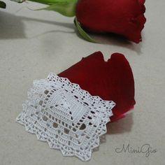 Miniature crochet square doily 1.6 inches, dollhouse crochet tablecloth, 1:12 dollhouse miniature, white small doily, micro crochet