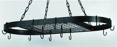 "32.5 x 17 Oval Matte Black Hanging Pot Rack 12 Hooks/Chain - 32½"" x 17"" Oval Matte Black Hanging Pot Rack,12 Hooks/Chain. At Home > Kitchenware > Kitchen Racks. Weight: 15.00"