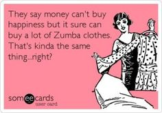 Great example of the principle of association! Clearly, many people associate zumba clthes with happiness, which might have to do with fitness making the endorphins go to your head, which make you happy, or it could be the advertisers. Haven't quite figured that out yet!