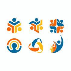 Conjunto de logotipo de figura humana Ve. Logo Academia, Foundation Logo, Logo Minimalista, Family Logo, People Logo, Event Logo, Community Logo, Graphic Design Branding, Logo Nasa