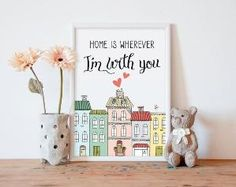 home is wherever im with you printable art *** The high resolution file (JPEG) any size between 5x7 and 16x20 (you can print it as 8x10, by julia