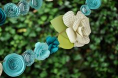 Wedding Garland Paper Flower  garland Teal and by lillesyster, $52.00
