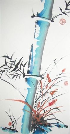 The fire test (Painting), cm by Catherine MONDOUX Chinese painting Japanese Painting, Chinese Painting, Watercolor Flowers, Watercolor Paintings, Watercolour, Sumi E Painting, Art Chinois, Bamboo Art, China Art