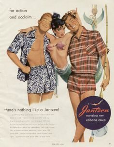 those lucky Jantzen-clad boys. they caught a mermaid. 1951 swimwear ad