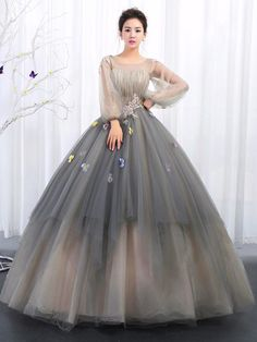 Customized Admirable Prom Dresses With Sleeves Ball Gowns Bateau Prom Dresses With Applique Long Sleeve Evening Gowns Long Prom Dresses Evening Dresses Evening Gowns With Sleeves, Long Sleeve Evening Dresses, Prom Dresses Long With Sleeves, Indian Gowns Dresses, Ball Gown Dresses, Pretty Dresses, Beautiful Dresses, Sexy Dresses, Casual Dresses