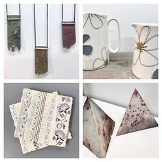 regram @fourmakersatno5 Some of the work currently available in our studio @middleportpottery! Top left we have patination necklaces with beautiful natural textures by @libbywardjeweller1 top right are fine bone china jugs with screen printed surface transfers finished with a lovely gold Lustre overlay by @amyhelenaclarke bottom left are fusion coasters with intricate embossed patterns and surface transfer prints by @alex_allday_design and bottom right are saga fired pyramids with intriguing…
