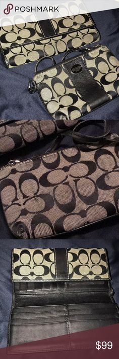 COACH MATCHING WALLET AND WRISTLET Preloved priced accordingly Coach Bags Wallets