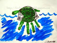 Handprint Turtle  http://funhandprintart.blogspot.com/search/label/Summer%20Hand%2Ffoot%20print%20crafts