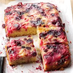 Rhubarb Berry Upside-Down Cake Recipe -I had leftover rhubarb and wanted to create something fresh. With blueberries, strawberries and dried cranberries on hand, I discovered I had a berry upside-down cake. Rhubarb Desserts, Rhubarb Cake, Just Desserts, Delicious Desserts, Yummy Food, Rhubarb Upside Down Cake, Rhubarb Ideas, Peach Upside Down Cake, Blueberry Rhubarb