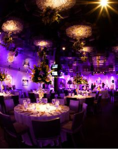 Reception Hall with Purple Lighting...Fabulously Gorgeous!!!! <3 I want this kind of lighting at my reception! & I'll get it all!! ;)