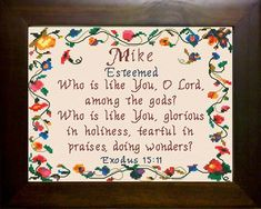 Cross Stitch Mike with a name meaning and a Bible verse
