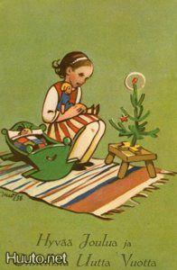 Martta Wendelin,with dolls Antique Christmas, Christmas Past, Vintage Christmas Cards, Scandinavian Christmas, Christmas Greetings, Christmas Inspiration, Xmas Ideas, Vintage Children, Children Books