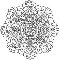 "Mandala 669, Digital Download Coloring Page Hand Drawn Zentangle Inspired ""Enjoy"" Less Intricate Mandala Abstract Zendoodle Doodle by Kat. $2.20, via Etsy."