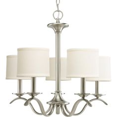 Five Light Brushed Nickel Beige Linen Shade Glass Drum Shade Chandelier : P4635-09 | Springfield Electric