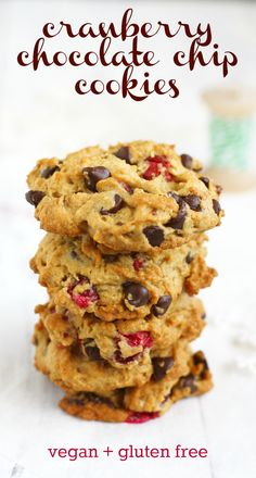 A delicious recipe for vegan and gluten free cranberry chocolate chip cookies.