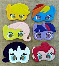 Add these adorable My Little Pony Inspired Felt Masks to a party. The felt masks are machine embroidered using wool blend felt. Felt Diy, Felt Crafts, Anniversaire My Little Pony, Masque Halloween, My Little Pony Birthday Party, Felt Mask, Felt Patterns, Mask For Kids, Diy For Kids