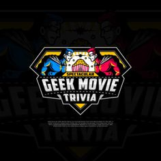 Logo design created by Ron   Graphics for a Geeky Youtube Trivia Show. Blue and red illustrated superhero mascots face off in a design shaped like Superman's shield. #nerd #branding #socialmedia