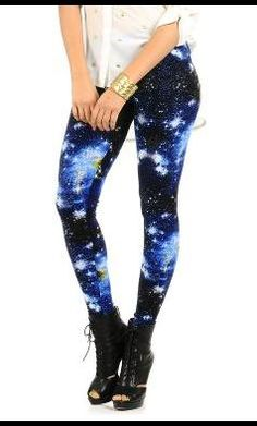 Future Punk | Spot Pop Fashion Over The Milky Way Printed Leggings Blue