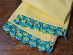 Vintage Yellow Kitchen Towel Turquoise Crochet by CynthiasAttic