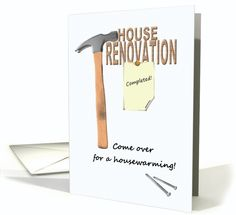 Housewarming invitation, Renovated house, hammer and nails card