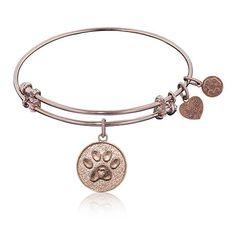 Paw Print Charm Bangle Bracelet in Pink Brass