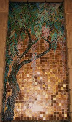 Glass Tile Mosaic. Ennis House. Frank Lloyd Wright Textile Block Period. 1924 Los Angeles, California