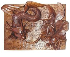 wooden wall decor , dragon and fairy