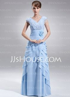 Mother of the Bride Dresses - $152.99 - Sheath V-neck Floor-Length Chiffon Mother of the Bride Dress With Ruffle Lace Beading Flower(s) Sequins (008006404) http://jjshouse.com/Sheath-V-Neck-Floor-Length-Chiffon-Mother-Of-The-Bride-Dress-With-Ruffle-Lace-Beading-Flower-S-Sequins-008006404-g6404