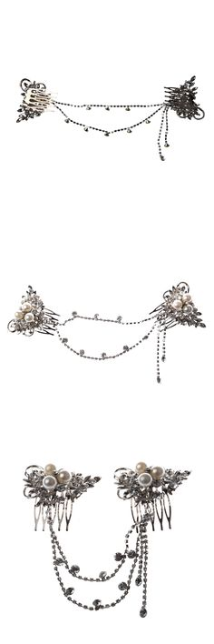 Silver Plated Flower Crystal Pearl Bridal Tiara 2 Hair Slide Comb Pin Women