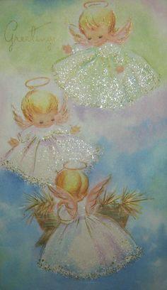 Vintage Glitter Angels Girls Christmas Card Pastels Pink Blue Green Greeting