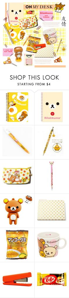 """""""On My Desk: Rilakkuma"""" by cara-mia-mon-cher ❤ liked on Polyvore featuring interior, interiors, interior design, home, home decor, interior decorating, Lazy Days, Kate Spade and onmydesk"""