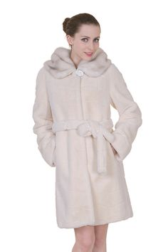 Clearance! Womens' Ivory Mink Middle Length Faux Fur Winter Coat