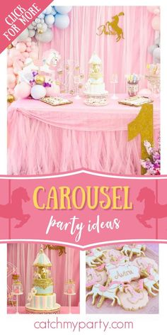Feast your eyes on this stunning carousel 1st birthday party! The cake is gorgeous!  See more party ideas and share yours at CatchMyParty.com #catchmyparty #partyideas #carousel #carouselparty #vintageparty #girl1stbirthdayparty Boys 1st Birthday Party Ideas, Horse Birthday, Birthday Party Decorations, Girl Birthday, Carousel Cake, Carousel Party, Pastel Balloons, Balloon Display, Vintage Party