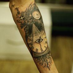Pyramid Tattoo Designs on Forearm