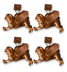 Pugs Might Fly - Tree Decoration 4 Pack (Copper)