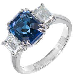 Peter Suchy Natural Blue Emerald Cut Sapphire Diamond Platinum Engagement Ring. 1 octagonal blue sapphire VS approx. 4.19 cts gem blue natural no heat GIA # 1182007260
