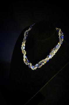 Deep Blue Abalone & Silver Choker by STRangerArtiste on Etsy, $65.00
