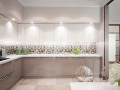 Один из недавних проектов. Квартира со свободной планировкой. Из пожеланий заказчицы - просторную кухню-гостиную, много мест для хранения и место для книг. Стилевое оформление выбрали - спокойную классику. Квартира получилась светлая, просторная, теплая. Балкон возле спальни… Kitchen And Bath Design, Kitchen Cabinet Design, Home Decor Kitchen, Interior Design Kitchen, Home Kitchens, Modern Kitchen Interiors, Modern Kitchen Cabinets, Kitchen Slab, Living Room Sofa Design