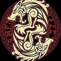 'Fenrir' by Dan Dee - Norse Mythology Tattoo, Norse Tattoo, Wiccan Tattoos, Inca Tattoo, Celtic Tattoos, Viking Tattoos, Wolf Tattoos, Symbolic Tattoos, Body Art Tattoos