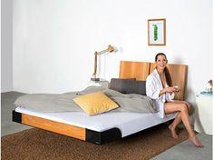 Wooden double bed with high headboard 325   Double bed - Wissmann raumobjekte