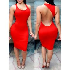 USD6.49Sexy U Neck Backless Tank Sleeveless Red Polyester Sheath Knee Length Women Dress