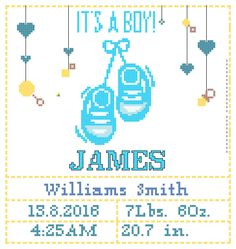 Birth announcement cross stitch pattern/baby cross