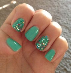 Mint and glitter gelish nails